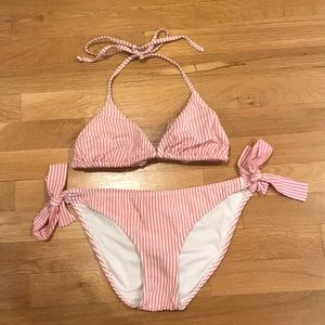 J.Crew Seersucker Pink Stripe Bikini.
